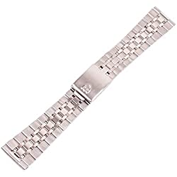 ygdz 20mm Armband Edelstahl Watch Band Gurt gerade Ende Solide links Farbe Silber