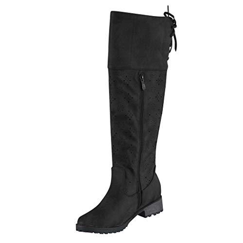 Damen Stiefel mit Blockabsatz Profilsohle Stilvolle Frauen Flats Round Toe Low-Heel Schnürstiefel Western Knight über Langschaft Stiefeletten Leder Boots Winterstiefel -