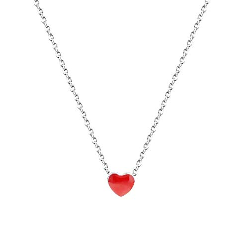 Gioielli cuore battente s925 argento sterling cuore rosso pendente collana femminile a forma di cuore regalo gioielli a forma di cuore 40 + 3.5 cm