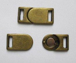 Bekleidungsverschluss Magnet alt gold 35 x 15 mm (Schnalle Borte)