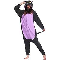 Kigurumi Pijama Animal Entero Unisex para Adultos con Capucha Cosplay Pyjamas Gato Ropa de Dormir Traje de Disfraz para Festival de Carnaval Halloween Navidad