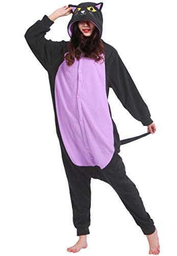 Jumpsuit Onesie Tier Karton Fasching Halloween Kostüm Sleepsuit Cosplay Overall Pyjama Schlafanzug Erwachsene Unisex Lounge Kigurumi Katze for Höhe 140-187CM