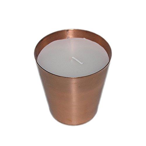 PARIJAT HANDICRAFT Parijat Handwerk Duft Kerzen Wachs Duftkerze tragbar Travel Candle Lager Ihr Home Teelicht Kerzen mit Kupfer Tasse Perfekte Geschenk. (Messing Kupfer-kerze)