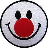 Smiley, Rot Nase Logo Jacke Eisen nähen auf bestickt Patch =