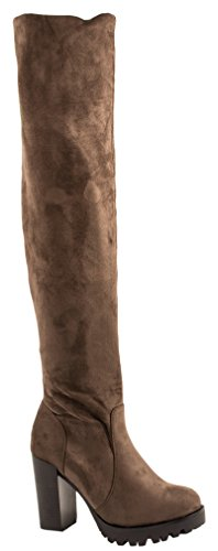 Elara Botas para Mujer Overknee High Heels Tacón Alto Chunkyrayan 0-96-Khaki-36