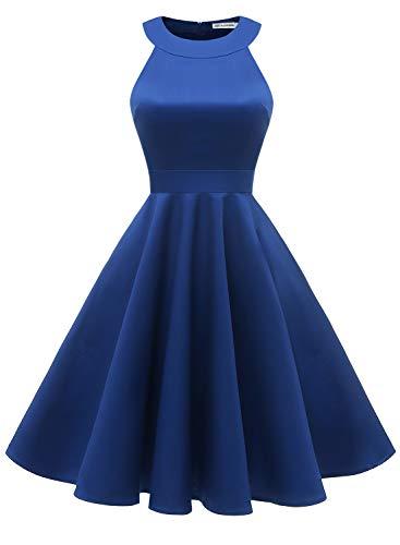 Baumwolle Damen Tasche (MUADRESS 1950 Vintage 1950 Kleid mit Taschen Retro Rockabilly Cocktailkleider Faltenrock Royalblau Large)