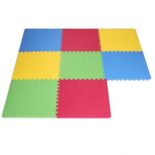 Flexeus Tappeto Puzzle Eva Colori Assortiti Tappetino Gioco Bambino Palestra casa Set 60x60 cm 8pcs
