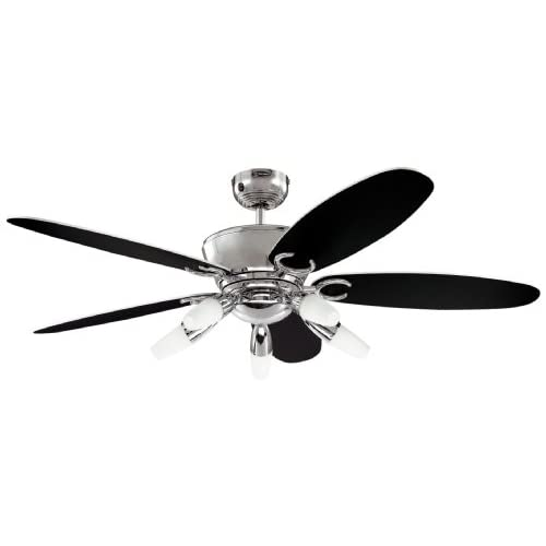 Westinghouse Ceiling Fans 72559 Arius Light 132 cm Five-Blade Indoor Ceiling Fan, Chrome Finish with Opal Frosted Glass