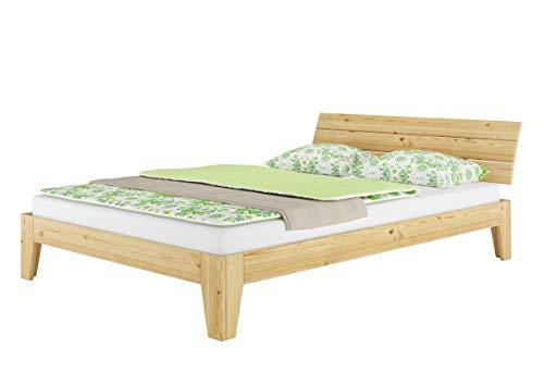 Erst-Holz® Futonbett Kiefer massiv Doppelbett Ehebett Jugendbett 140x220 Überlänge mit Rollrost 60.62-14-220 -