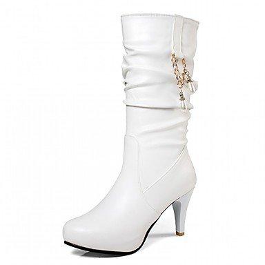 Rtry Femmes Chaussures Pu Similicuir Automne Hiver Confort Nouveauté Mode Bottes Bottes Talon Stiletto Bout Rond Mi-veau Bottes Imitation Perle Pour Us1.5 / Eu31 / Uk0.5 / Cn30