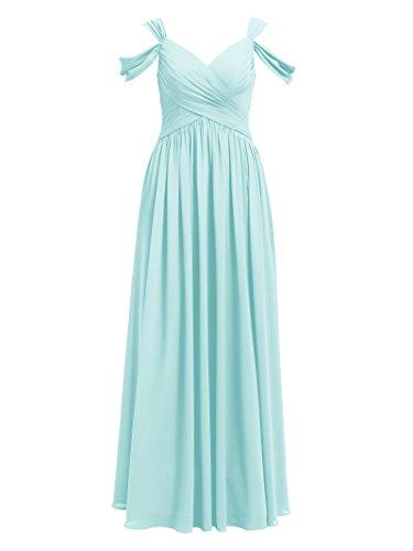 Alicepub A-Linie Lang Abendkleider Festkleider Damen Brautjungfernkleider Maxi, Hellblau, 40