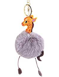 5 Kunst Fox Pelz Bommel Ball Pelzig Flauschig Anhänger für Schlüsselanhänger