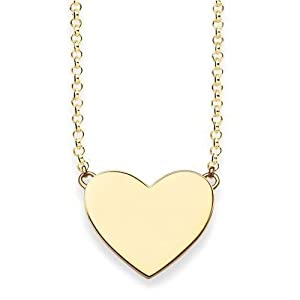 Thomas Sabo Women Necklace Heart Necklace Heart 925 Sterling Silver; 18k Yellow Gold Plating KE1395-413-12