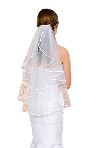 Brautschleier Hochzeitskleid 70 cm lang mit Satinkante - S4 Soft (ivory/champagner)
