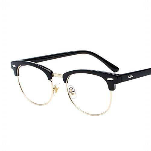 Easy Go Shopping Herren Material Ultraleichte Flache Spiegelgläser Rahmen Optische Brillen. Sonnenbrillen und Flacher Spiegel (Farbe : Black Frame-Gold)