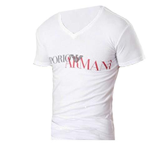 Armani T-shirts (Emporio Armani T-Shirts V-Ausschnitt 110810 8A516 00010 Weiss (M))