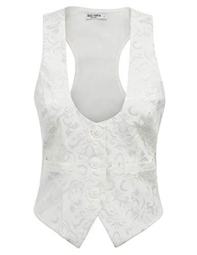 GRACE KARIN Retro Gilet Costume Vinatge Ete Jacquard Bureau Elegante sans Manche Boutonne Blanc XL CL677-4