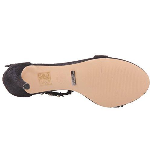 Unze Le nuove donne Ladies 'Carzrose' Diamante ha abbellito il cinturino alla caviglia peep toe Mid tacco alto da sera, da sposa, partito di promenade scarpe Dimensioni 3-8 Nero