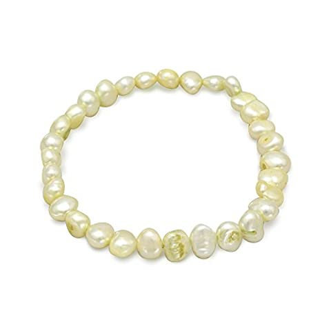 Lime Green perles d'eau douce Bracelet extensible culture