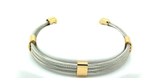 Energie & Balance Magnet Armband Trio Cable Stainless Gold, Größe S/M für Handgelenksumfang bis 17,5 cm