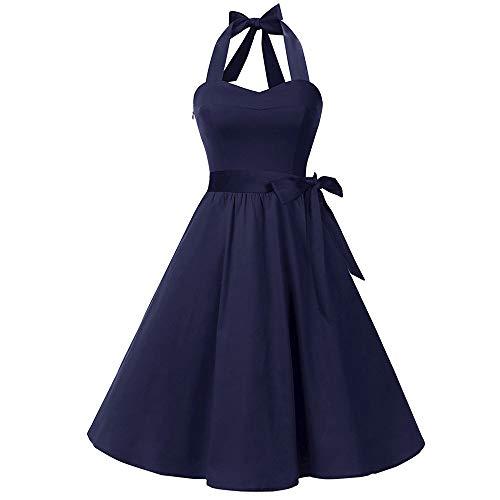 Sasstaids Frauen Country Rock der 1950er Jahre Retro Abendkleid rückenfreies Abendkleid Little Princess Cocktailkleid Partykleid Eleganter Falten-Rock Streetwear Kleider