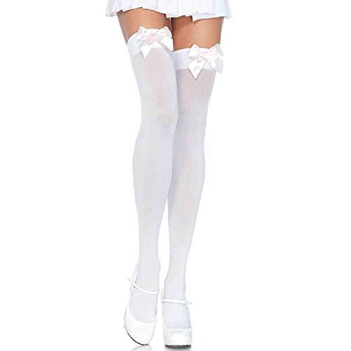 LEG AVENUE 6255 - Blickdichte Nylon Overknee Mit Satin Schleife, Einheitsgröße (EUR 36-40), weiß/hellrosa, Damen Karneval Kostüm Fasching