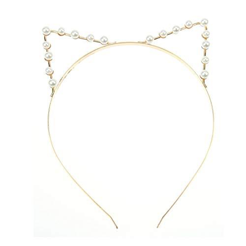Demarkt Cute Katzenohren Haarreif Haarband Haar Reif Perle Haarband Spange Haar - Mädchen Freche Katze Kostüm