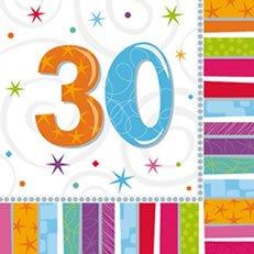 (16 Papier Servietten mit der Zahl 30 3lg. 32,7 x 32,7cm 30. Geburtstag)