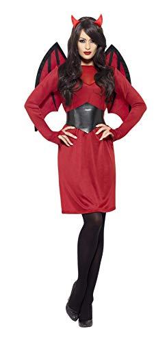 Smiffys, Damen Teufelin Kostüm, Kleid, Gürtel, Hörner und Flügel, Größe: S, 43730