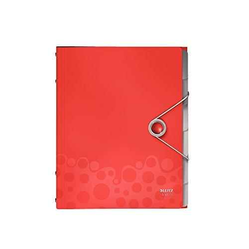 Leitz - Carpeta archivadora con separadores A4 con elástico color rojo