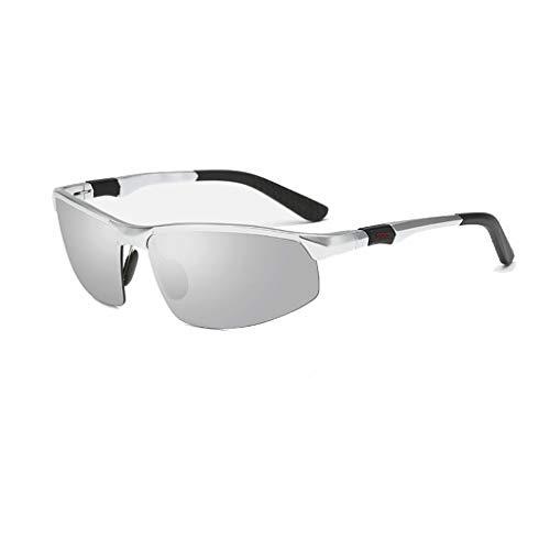 Jinxiaobei Herren Sonnenbrillen Sport-Sonnenbrille mit farbigen Gläsern Semi-Rimless Wrap Around Sport-Sonnenbrille mit farbigen Gläsern for Herren (Color : Silver)