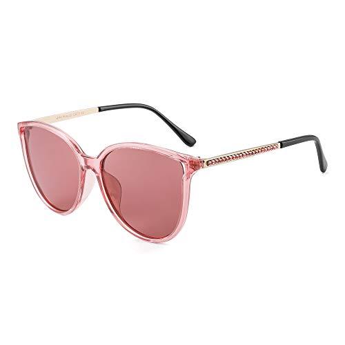 JIM HALO Katzenauge Polarisiert Sonnenbrillen für Damen Vintage Runden Oversized Gläser(Transparenter Rosa Rahmen/Polarisierte hellrosa Linse)