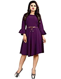 Sabaira American Crepe Fabric Wine Color Butterfly Sleeve / 3/4Th Sleeve Fully Stitched Dress (SBRWD18_S_ Western Dress)