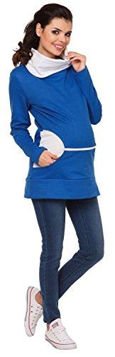 Zeta Ville - Sweat-shirt d'allaitement col bénitier top maternité - femme - 073c Bleu Royal