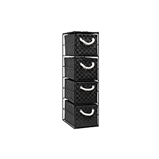 ARPAN Black 4-Drawer Storage Unit Ideal for Home/Office/Bedrooms, 18x25x65cm