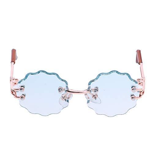 Fenteer 1 Paar Miniatur Brille Sonnenbrille Gläser mit Blumen-Form Gestell für 1/6 Blythe, Azone, Licca, Pullip Puppen Zubehör - Hellgrün