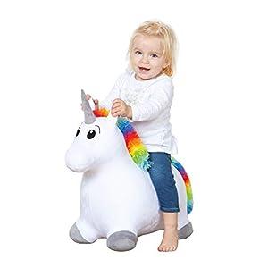 John 59042 Hop - Unicornio Saltando con Revestimiento de Peluche, Color Blanco