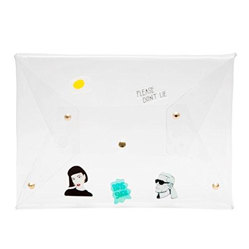 Zarapack borsa pochette borsa sacchetto trasparente trasparente ologramma it donna, Style 1 (Trasparente) - BA928 Style 2