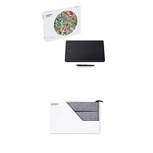 Wacom Intuos Pro Stifttablett Größe M, Grafiktablett inkl. Wacom Pro Pen 2 Eingabestift mit verschiedenen Spitzen, Kompatibel mit Windows und Apple plus Soft Schutzhülle Medium, grau