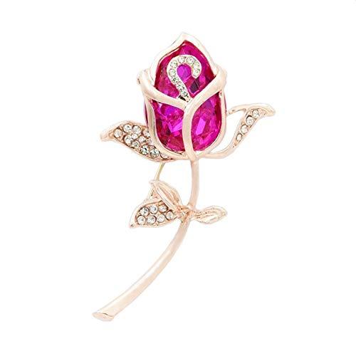 ZHILI Damen Broschen & Anstecknadeln Elegant Strass Vergoldet Rose Brosche (Rot, Champagner) (Color : F)