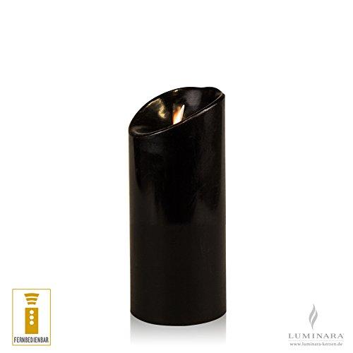 LED vela de cera con mando lisa negro 8 x 18 cm