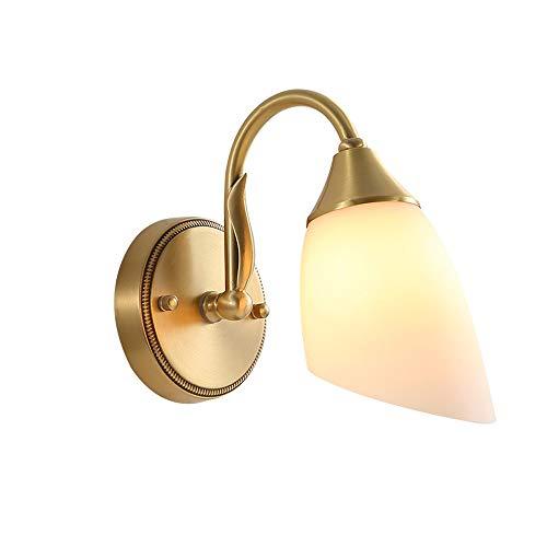 1 Vanity Wandleuchte (Belief Rebirth Weißer Glaswandlampenschirm 1-Licht Kupfer Metall Wandleuchte, Vanity Lights, Nordic Modern Wandleuchte für Wohnzimmer, Schlafzimmer, Esszimmer, Korridor - Biegerohrarm)