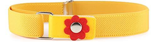 Cinturón amarillo con flores en la hebilla para mujer