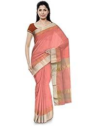 R K Chouhan Maheshwar Maheshwari Handloom Cotton & Silk Saree (Pink)