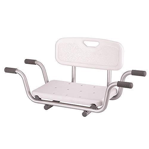 Panca da bagno sospesa sulla vasca da bagno, con larghezza del sedile regolabile, colore bianco
