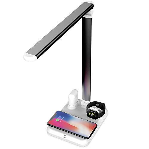 LOVEQIZI LED Schreibtischlampe Tischlampen mit kabellosem Ladegerät Schnellladung für Telefon XS Max/Apple Watch/Airpods für Offizier/Arbeiter, Touch Control, Dimmbar, Einstellbar,C