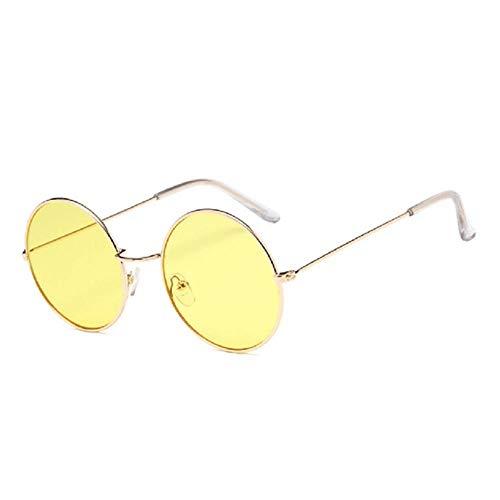 Passionate turkey Leidenschaftlicher Truthahn niedliche Farbe Linse Retro Runde Sonnenbrille Persönlichkeit Ozean Stück Sonnenbrille, 4-Gold-Gelb