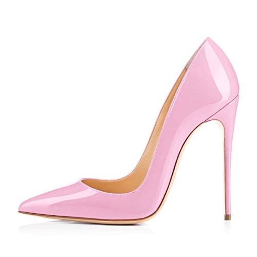Damen Pumps Spitze Schuhe High-Heels Stiletto Mehrfarbig Hochzeit Party Ballsaal Rutsch Candy Pink EU45 Pink Stiletto