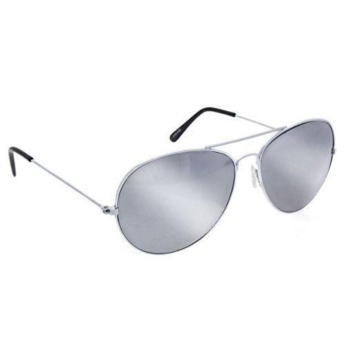 Gun Paar Top Kostüm - Klassische Pilotenbrille verspiegelt, silber