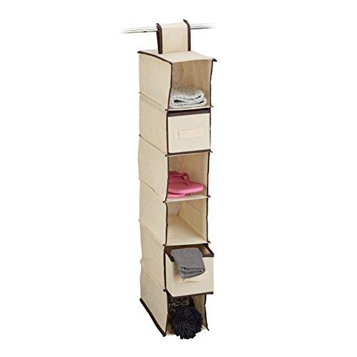 Relaxdays Hängeregal 6 Fächer mit 2 Schüben für Kleiderschrank, faltbar, HxBxT: ca. 82 x 14,5 x...